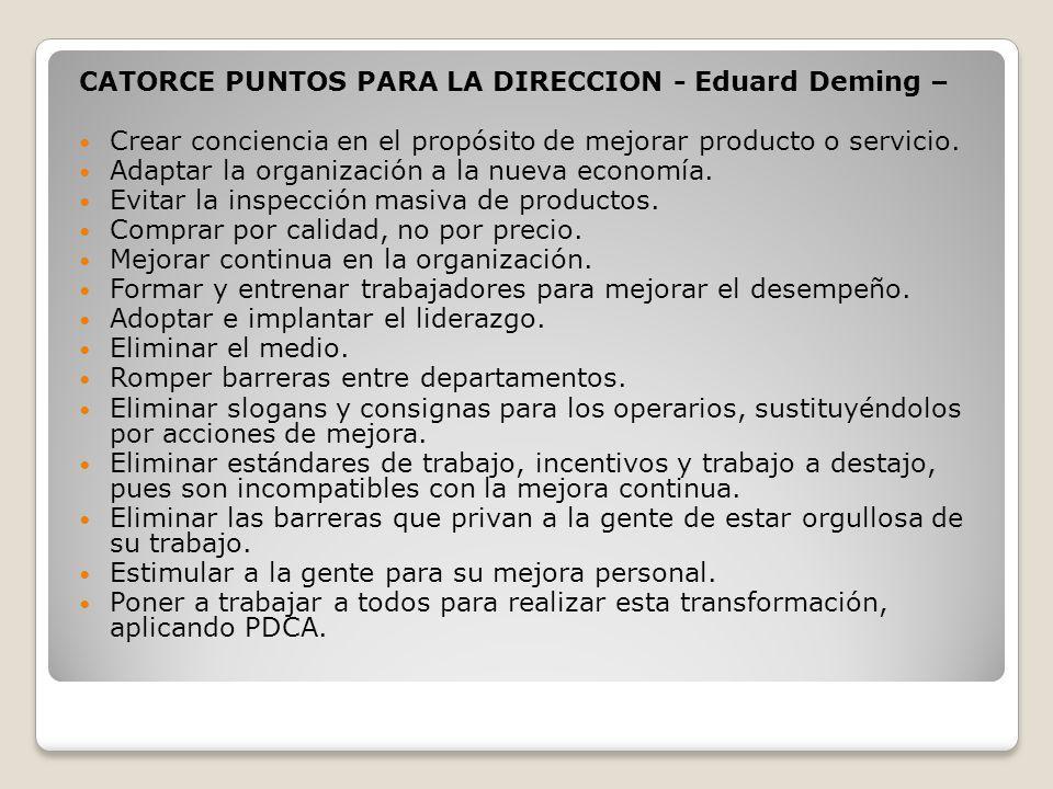 CATORCE PUNTOS PARA LA DIRECCION - Eduard Deming – Crear conciencia en el propósito de mejorar producto o servicio. Adaptar la organización a la nueva