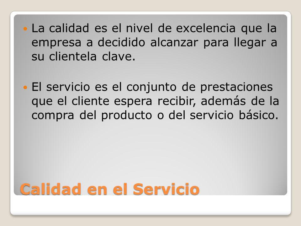 Calidad en el Servicio La calidad es el nivel de excelencia que la empresa a decidido alcanzar para llegar a su clientela clave. El servicio es el con