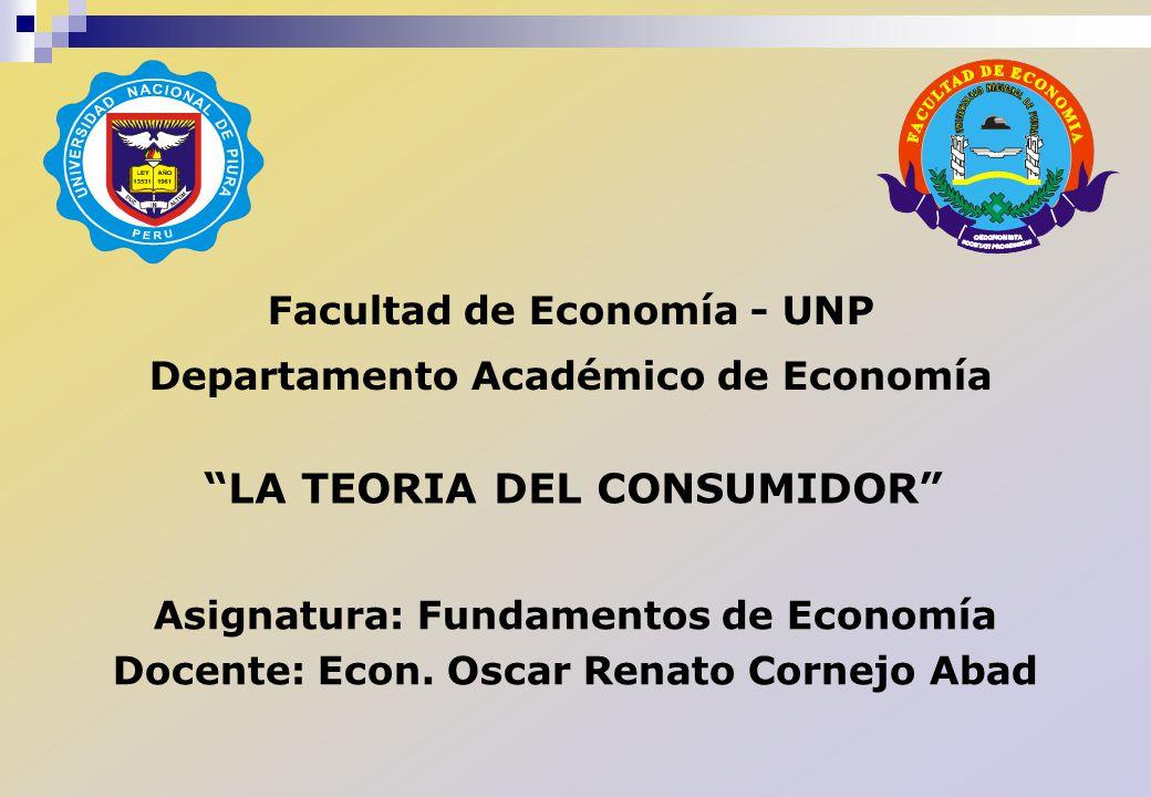 Facultad de Economía - UNP Departamento Académico de Economía Asignatura: Fundamentos de Economía Docente: Econ. Oscar Renato Cornejo Abad LA TEORIA D