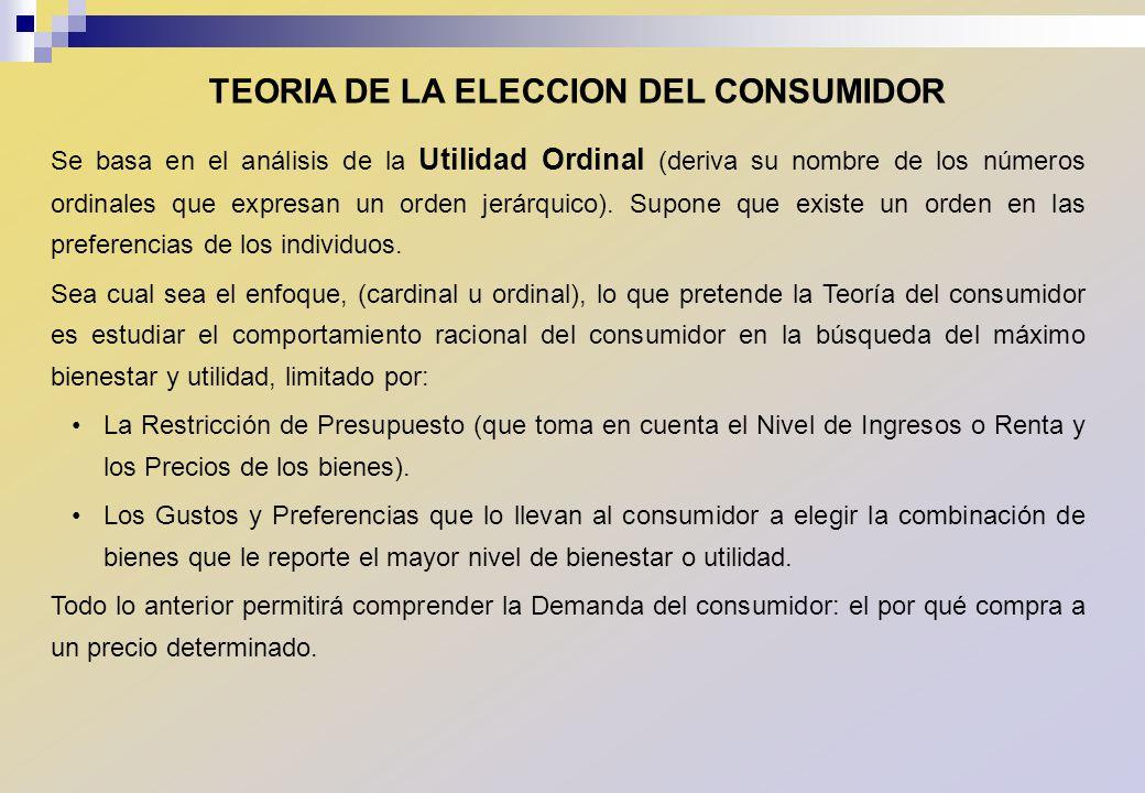 TEORIA DE LA ELECCION DEL CONSUMIDOR Se basa en el análisis de la Utilidad Ordinal (deriva su nombre de los números ordinales que expresan un orden je