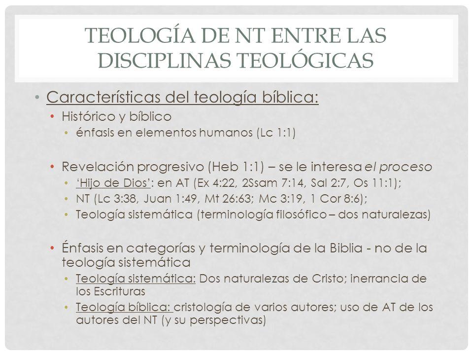 TEOLOGÍA DE NT ENTRE LAS DISCIPLINAS TEOLÓGICAS Características del teología bíblica: Histórico y bíblico énfasis en elementos humanos (Lc 1:1) Revela