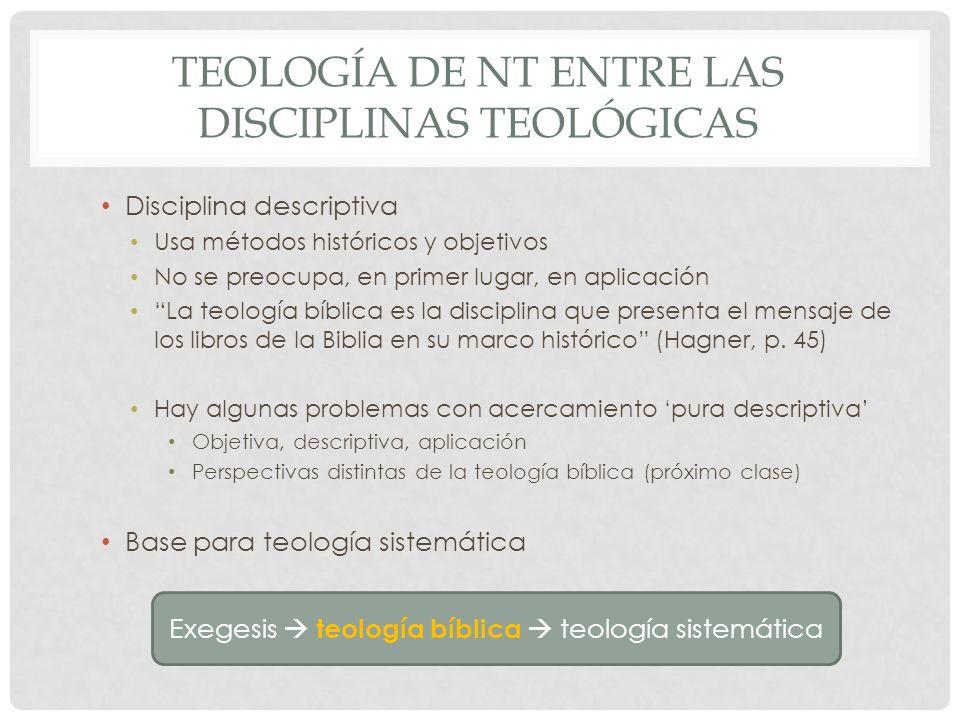 TEOLOGÍA DE NT ENTRE LAS DISCIPLINAS TEOLÓGICAS Disciplina descriptiva Usa métodos históricos y objetivos No se preocupa, en primer lugar, en aplicaci