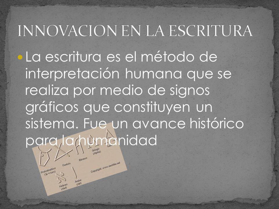 La escritura es el método de interpretación humana que se realiza por medio de signos gráficos que constituyen un sistema. Fue un avance histórico par