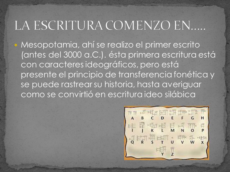 Mesopotamia, ahí se realizo el primer escrito (antes del 3000 a.C.). ésta primera escritura está con caracteres ideográficos, pero está presente el pr