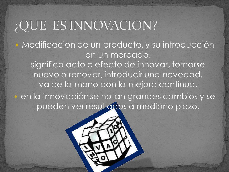 Modificación de un producto, y su introducción en un mercado. significa acto o efecto de innovar, tornarse nuevo o renovar, introducir una novedad. va