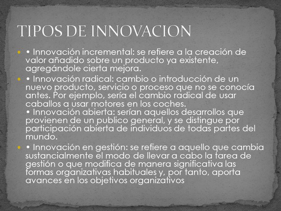 Innovación incremental: se refiere a la creación de valor añadido sobre un producto ya existente, agregándole cierta mejora. Innovación radical: cambi