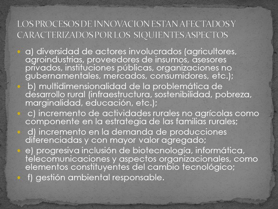 a) diversidad de actores involucrados (agricultores, agroindustrias, proveedores de insumos, asesores privados, instituciones públicas, organizaciones