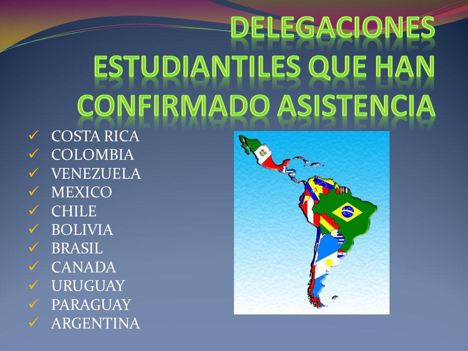 COSTA RICA COLOMBIA VENEZUELA MEXICO CHILE BOLIVIA BRASIL CANADA URUGUAY PARAGUAY ARGENTINA