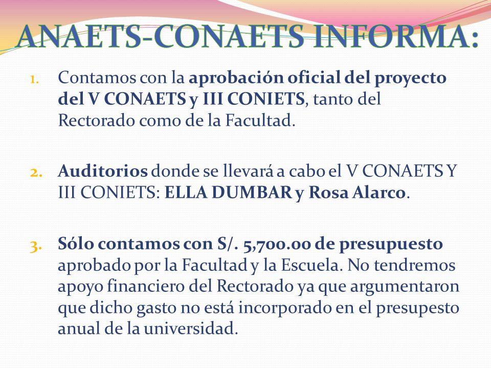1. Contamos con la aprobación oficial del proyecto del V CONAETS y III CONIETS, tanto del Rectorado como de la Facultad. 2. Auditorios donde se llevar