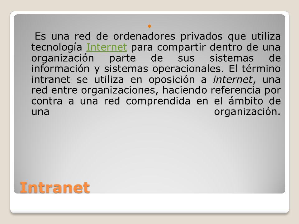 Extranet Es una red privada que utiliza protocolos de Internet, protocolos de comunicación y probablemente infraestructura pública de comunicación para compartir de forma segura parte de la información u operación propia de una organización con proveedores, compradores, socios, clientes o cualquier otro negocio u organización.