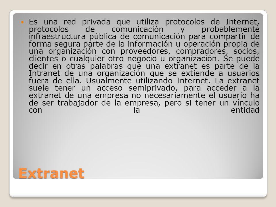 Extranet Es una red privada que utiliza protocolos de Internet, protocolos de comunicación y probablemente infraestructura pública de comunicación par