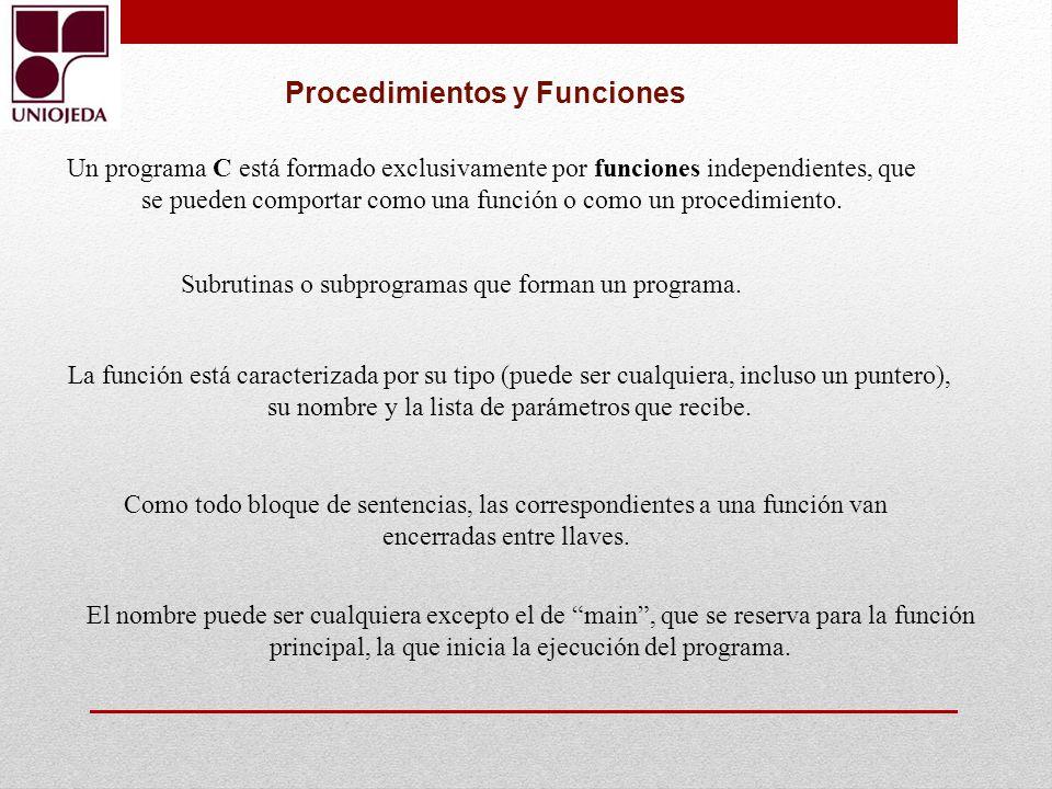 Un programa C está formado exclusivamente por funciones independientes, que se pueden comportar como una función o como un procedimiento. Procedimient