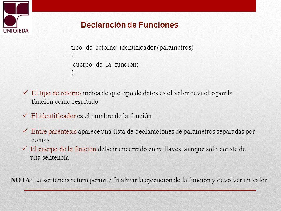 tipo_de_retorno identificador (parámetros) { cuerpo_de_la_función; } El tipo de retorno indica de que tipo de datos es el valor devuelto por la funció
