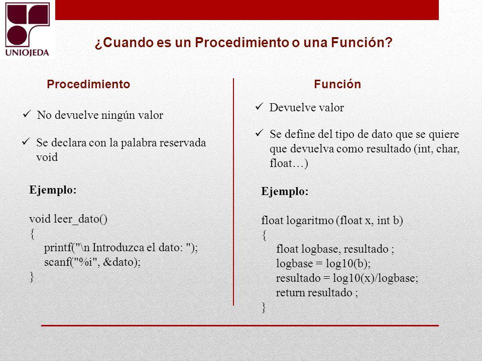 ¿Cuando es un Procedimiento o una Función? Procedimiento Función No devuelve ningún valor Se declara con la palabra reservada void Devuelve valor Se d