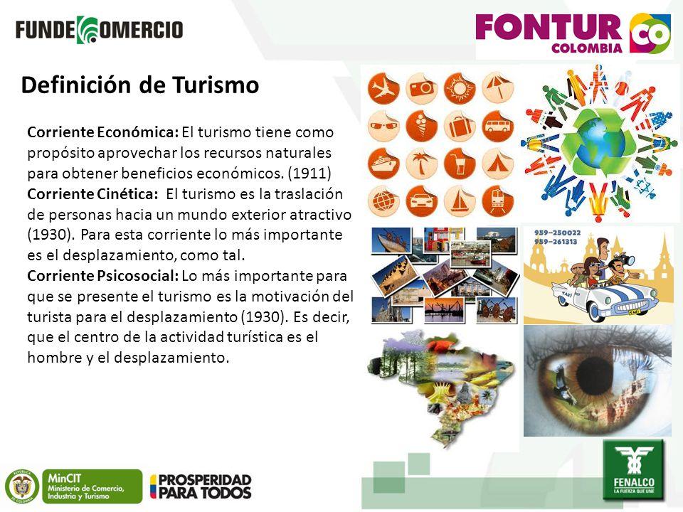 Definición de Turismo Corriente Económica: El turismo tiene como propósito aprovechar los recursos naturales para obtener beneficios económicos. (1911