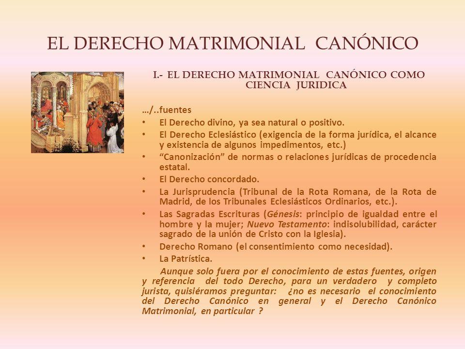 EL DERECHO MATRIMONIAL CANÓNICO I.- EL DERECHO MATRIMONIAL CANÓNICO COMO CIENCIA JURIDICA …/..fuentes El Derecho divino, ya sea natural o positivo.