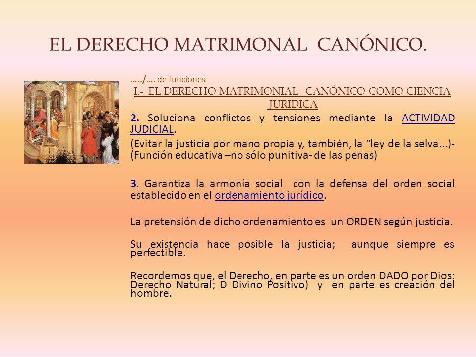 EL DERECHO MATRIMONAL CANÓNICO.…../….