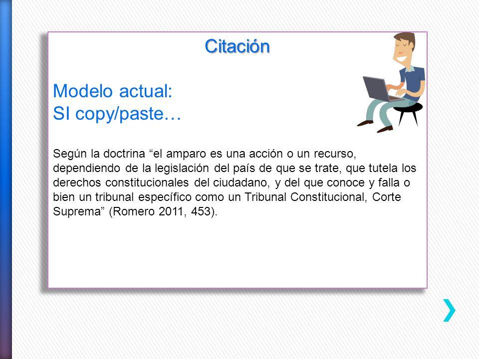 Derecho Administrativo Citación Modelo actual: SI copy/paste… Según la doctrina el amparo es una acción o un recurso, dependiendo de la legislación de