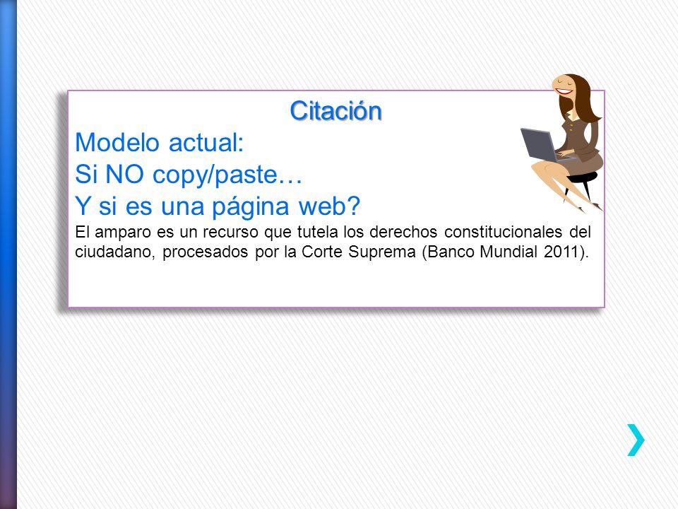 Citación Modelo actual: Si NO copy/paste… Y si es una página web? El amparo es un recurso que tutela los derechos constitucionales del ciudadano, proc