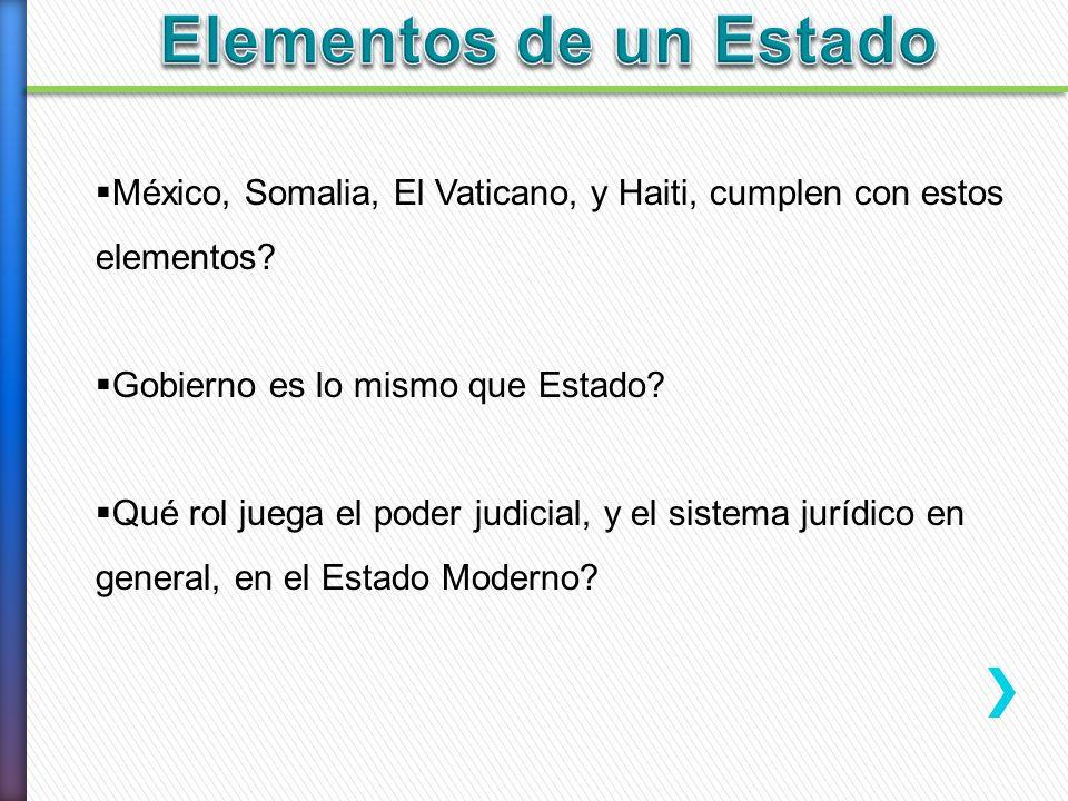 México, Somalia, El Vaticano, y Haiti, cumplen con estos elementos? Gobierno es lo mismo que Estado? Qué rol juega el poder judicial, y el sistema jur