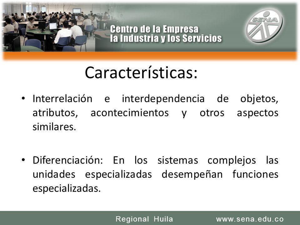 SENA REGIONAL HUILA REGIONAL HUILA CENTRO DE LA INDUSTRIA LA EMPRESA Y LOS SERVICIOS www.sena.edu.coRegional Huila Características: Interrelación e in