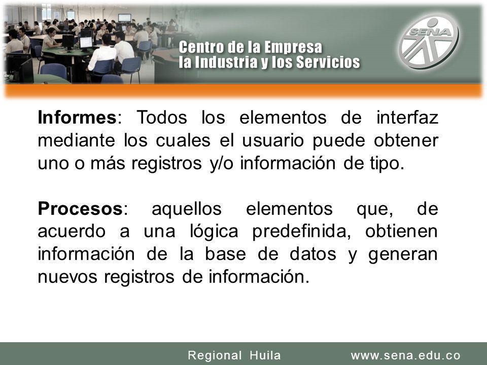 SENA REGIONAL HUILA REGIONAL HUILA CENTRO DE LA INDUSTRIA LA EMPRESA Y LOS SERVICIOS www.sena.edu.coRegional Huila Informes: Todos los elementos de in