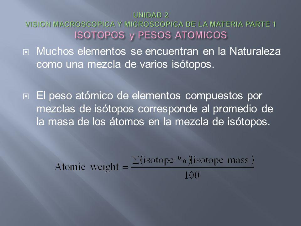 Muchos elementos se encuentran en la Naturaleza como una mezcla de varios isótopos. El peso atómico de elementos compuestos por mezclas de isótopos co