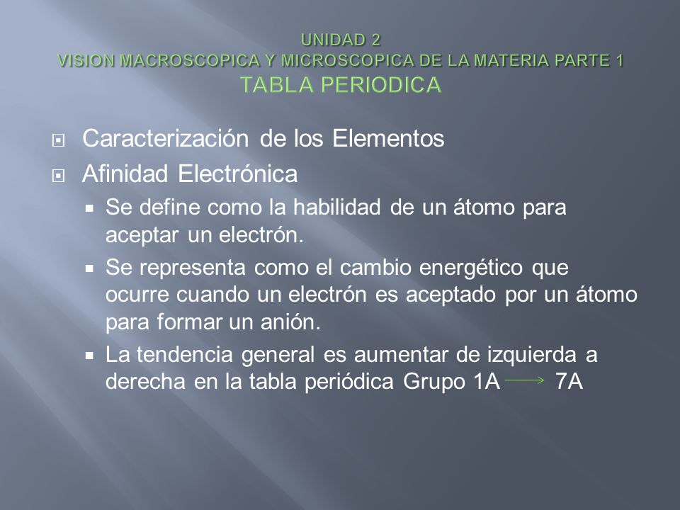 Caracterización de los Elementos Afinidad Electrónica Se define como la habilidad de un átomo para aceptar un electrón. Se representa como el cambio e