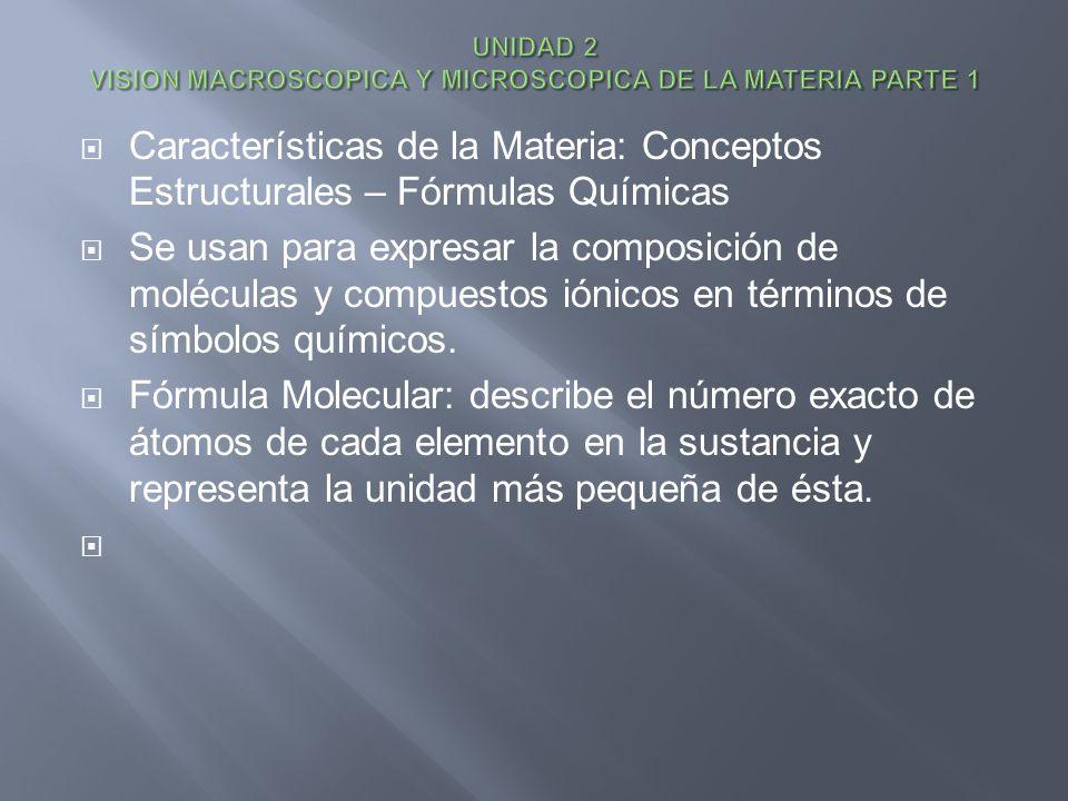Características de la Materia: Conceptos Estructurales – Fórmulas Químicas Se usan para expresar la composición de moléculas y compuestos iónicos en t