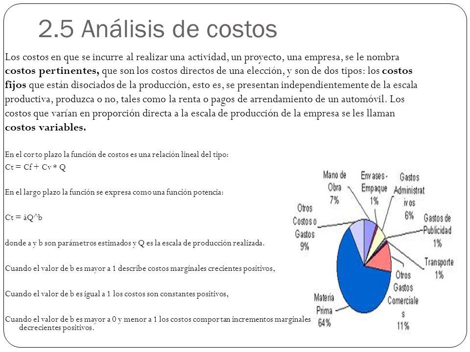 2.5 Análisis de costos En el corto plazo la función de costos es una relación lineal del tipo: Ct = Cf + Cv * Q En el largo plazo la función se expresa como una función potencia: Ct = âQ^b donde a y b son parámetros estimados y Q es la escala de producción realizada.