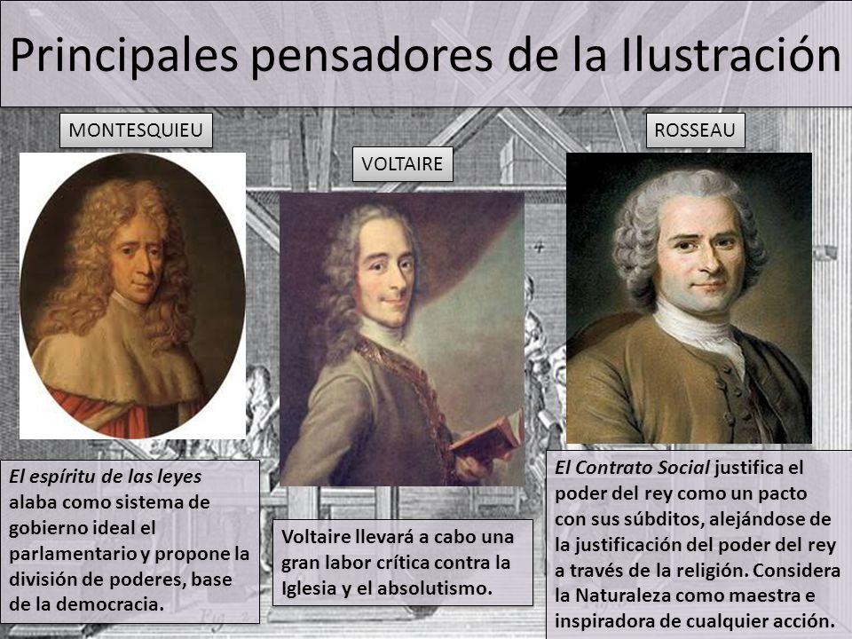 Principales pensadores de la Ilustración MONTESQUIEU VOLTAIRE ROSSEAU El espíritu de las leyes alaba como sistema de gobierno ideal el parlamentario y