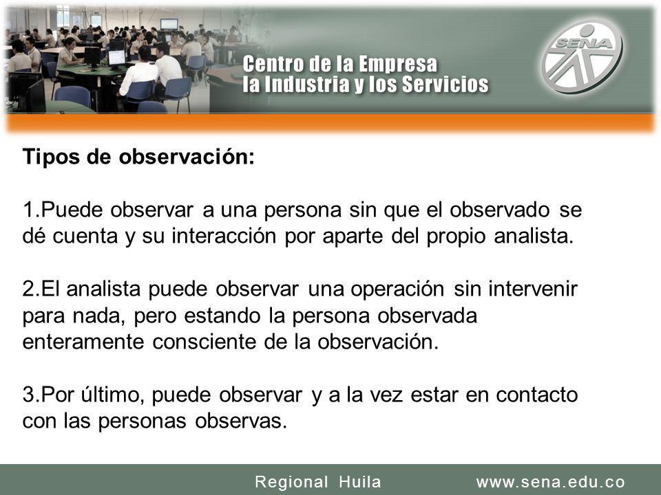 SENA REGIONAL HUILA REGIONAL HUILA CENTRO DE LA INDUSTRIA LA EMPRESA Y LOS SERVICIOS www.sena.edu.coRegional Huila Tipos de observación: 1.Puede obser