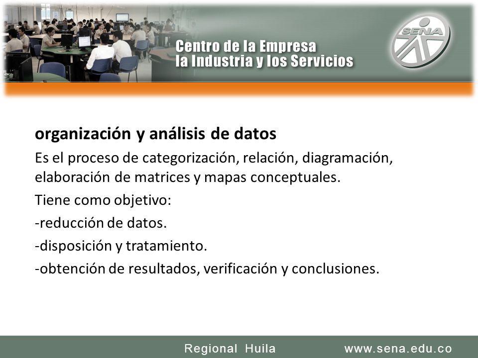 SENA REGIONAL HUILA REGIONAL HUILA CENTRO DE LA INDUSTRIA LA EMPRESA Y LOS SERVICIOS www.sena.edu.coRegional Huila organización y análisis de datos Es