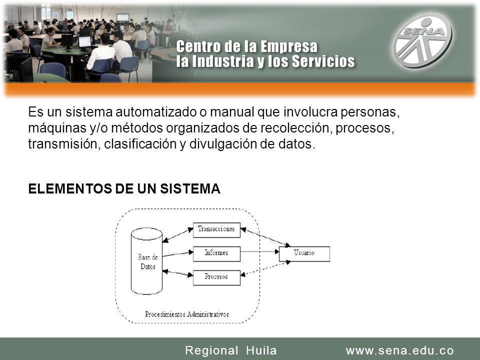 SENA REGIONAL HUILA REGIONAL HUILA CENTRO DE LA INDUSTRIA LA EMPRESA Y LOS SERVICIOS www.sena.edu.coRegional Huila Es un sistema automatizado o manual