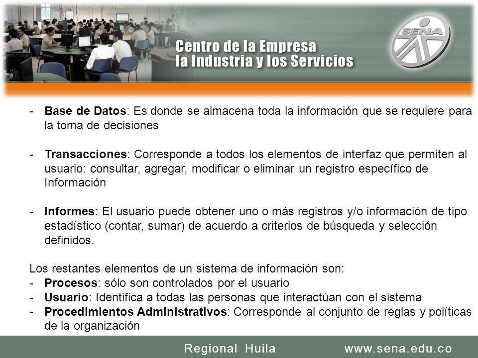 SENA REGIONAL HUILA REGIONAL HUILA CENTRO DE LA INDUSTRIA LA EMPRESA Y LOS SERVICIOS www.sena.edu.coRegional Huila -Base de Datos: Es donde se almacen