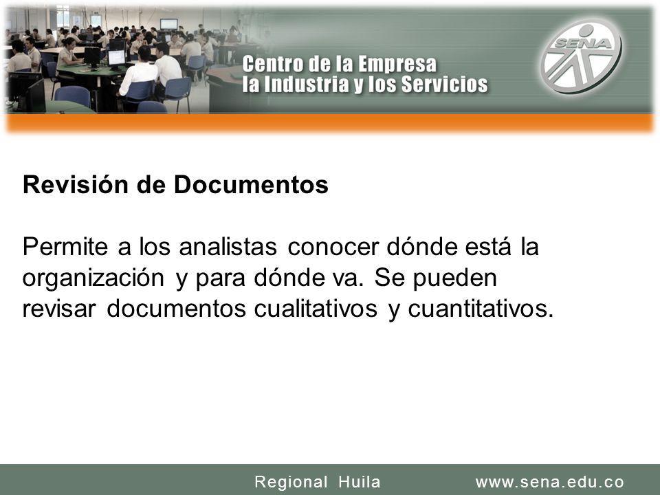 SENA REGIONAL HUILA REGIONAL HUILA CENTRO DE LA INDUSTRIA LA EMPRESA Y LOS SERVICIOS www.sena.edu.coRegional Huila Revisión de Documentos Permite a lo