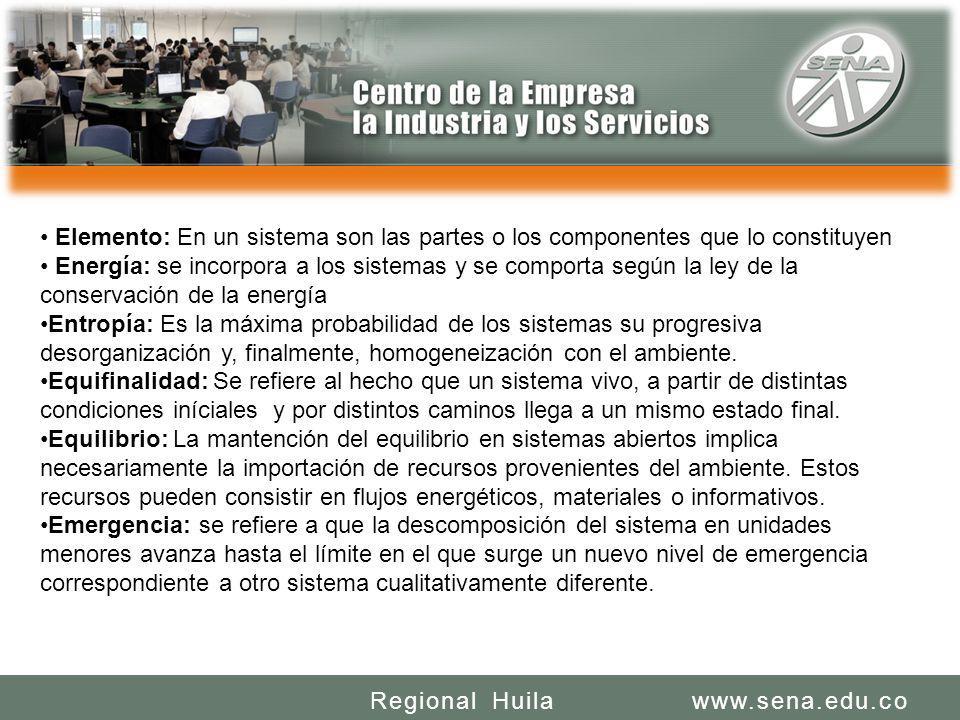 SENA REGIONAL HUILA REGIONAL HUILA CENTRO DE LA INDUSTRIA LA EMPRESA Y LOS SERVICIOS www.sena.edu.coRegional Huila Elemento: En un sistema son las par