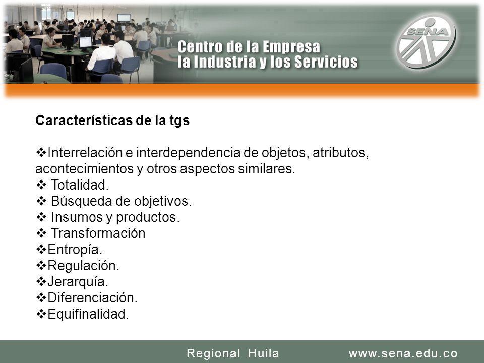 SENA REGIONAL HUILA REGIONAL HUILA CENTRO DE LA INDUSTRIA LA EMPRESA Y LOS SERVICIOS www.sena.edu.coRegional Huila Características de la tgs Interrela