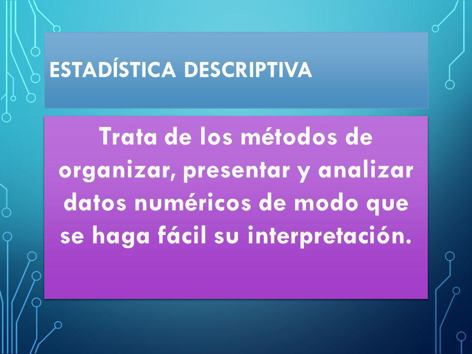 ESTADÍSTICA DESCRIPTIVA Trata de los métodos de organizar, presentar y analizar datos numéricos de modo que se haga fácil su interpretación.