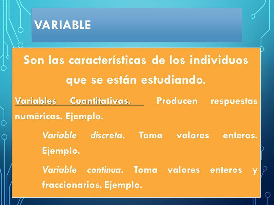 VARIABLE Cualitativas Datos nominales Datos jerarquizados Cuantitativas Variables discretas Variables continuas