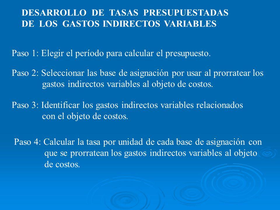DESARROLLO DE TASAS PRESUPUESTADAS DE LOS GASTOS INDIRECTOS VARIABLES Paso 1: Elegir el período para calcular el presupuesto. Paso 3: Identificar los