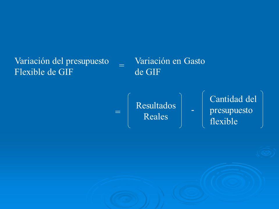= Resultados Reales - Cantidad del presupuesto flexible Variación del presupuesto Flexible de GIF Variación en Gasto de GIF =