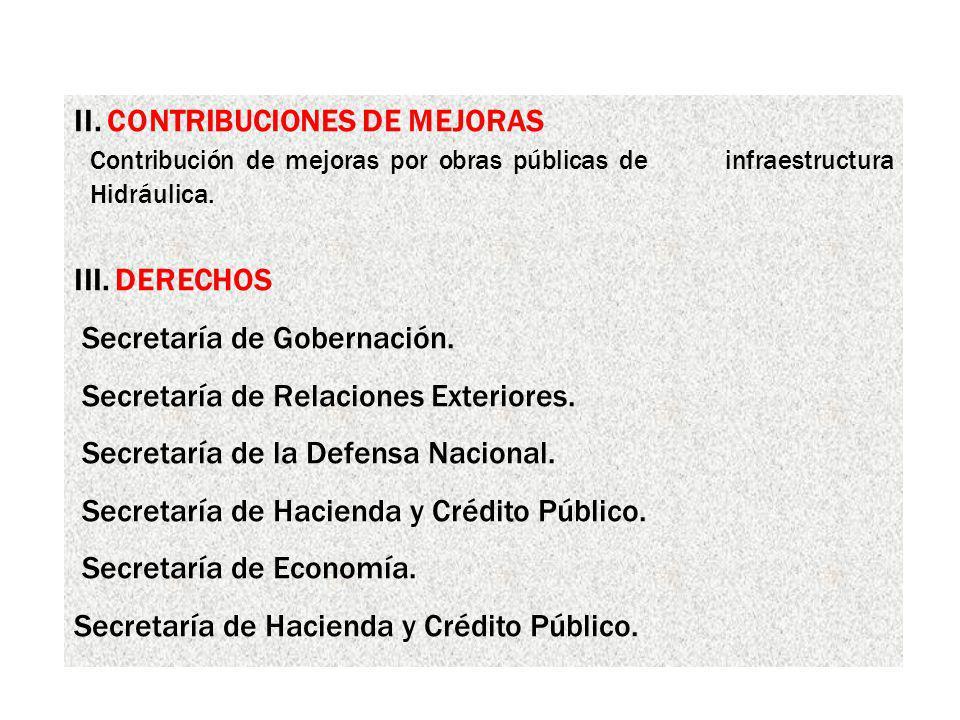 II. CONTRIBUCIONES DE MEJORAS Contribución de mejoras por obras públicas de infraestructura Hidráulica. III. DERECHOS Secretaría de Gobernación. Secre