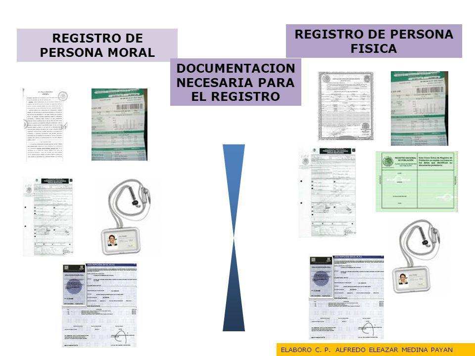 REGISTRO DE PERSONA FISICA REGISTRO DE PERSONA MORAL DOCUMENTACION NECESARIA PARA EL REGISTRO ELABORO C. P. ALFREDO ELEAZAR MEDINA PAYAN