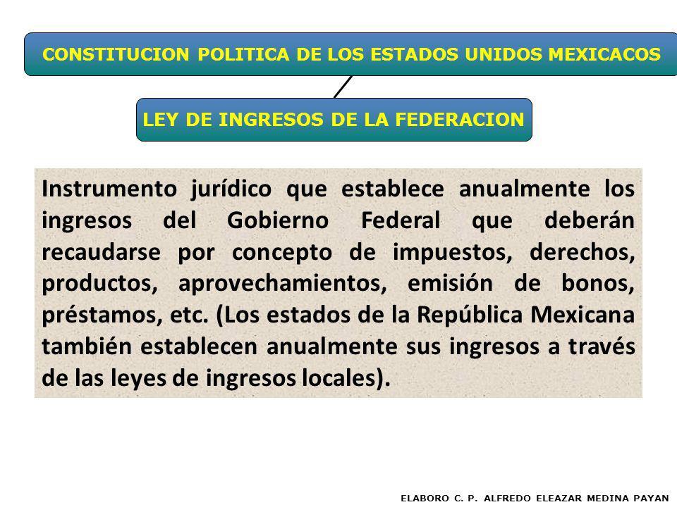 CONSTITUCION POLITICA DE LOS ESTADOS UNIDOS MEXICACOS LEY DE INGRESOS DE LA FEDERACION ELABORO C. P. ALFREDO ELEAZAR MEDINA PAYAN Instrumento jurídico