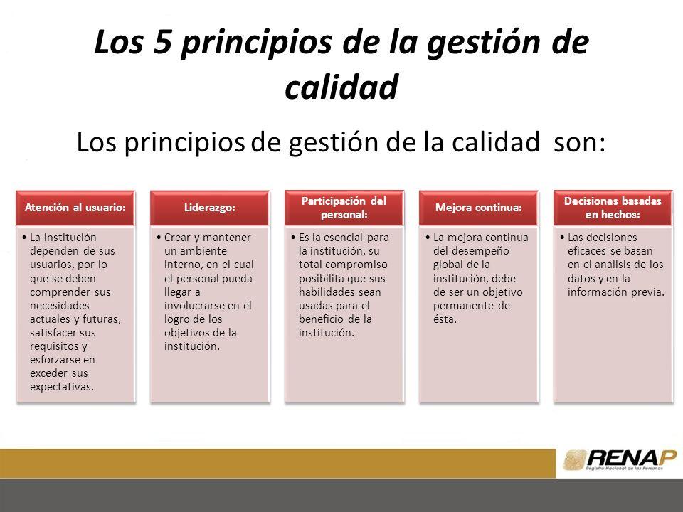 Los 5 principios de la gestión de calidad Los principios de gestión de la calidad son: Atención al usuario: La institución dependen de sus usuarios, p