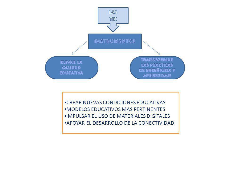 CREAR NUEVAS CONDICIONES EDUCATIVAS MODELOS EDUCATIVOS MAS PERTINENTES IMPULSAR EL USO DE MATERIALES DIGITALES APOYAR EL DESARROLLO DE LA CONECTIVIDAD