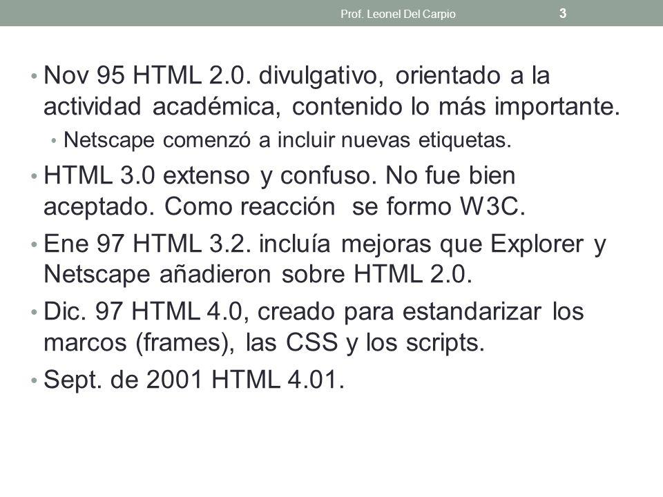 Nov 95 HTML 2.0. divulgativo, orientado a la actividad académica, contenido lo más importante. Netscape comenzó a incluir nuevas etiquetas. HTML 3.0 e