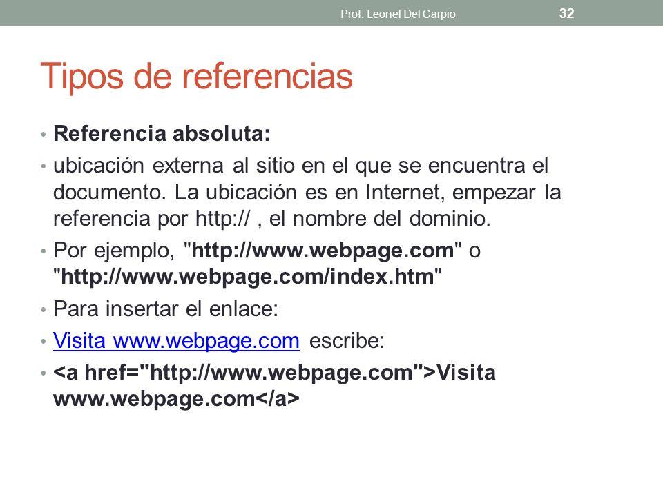 Tipos de referencias Referencia absoluta: ubicación externa al sitio en el que se encuentra el documento. La ubicación es en Internet, empezar la refe