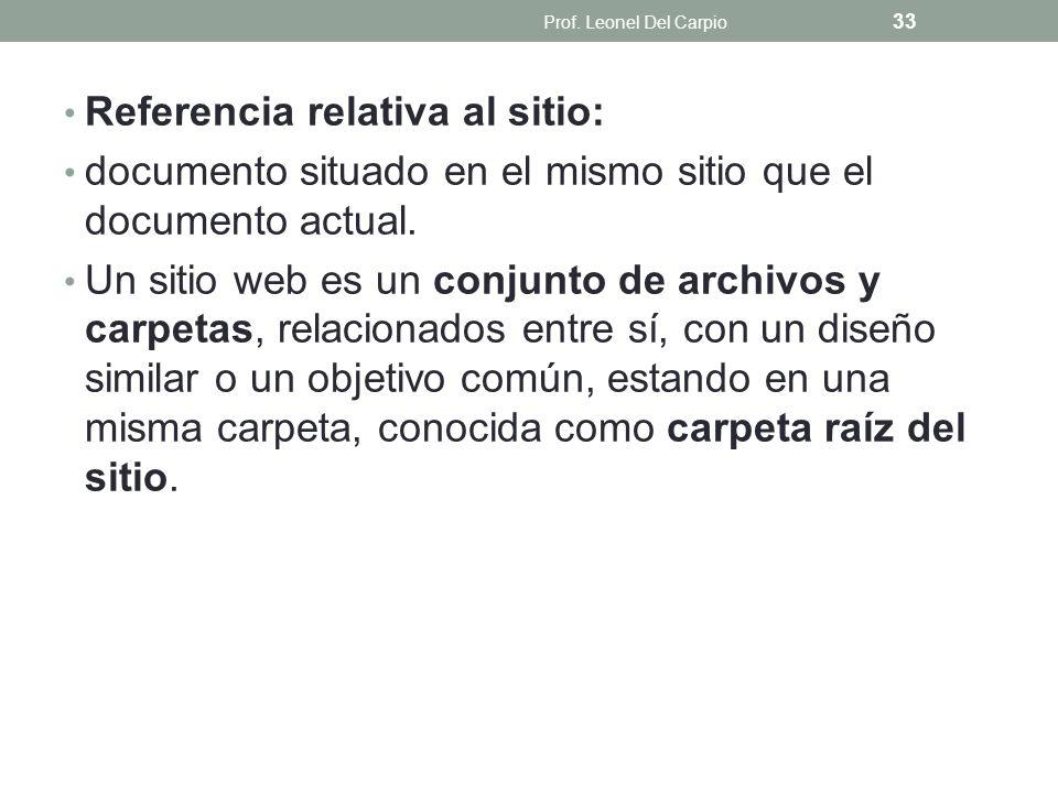 Referencia relativa al sitio: documento situado en el mismo sitio que el documento actual. Un sitio web es un conjunto de archivos y carpetas, relacio